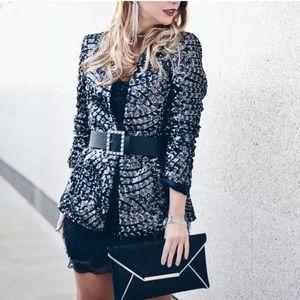 New Zara Black Sequin Blazer Jacket Size Large